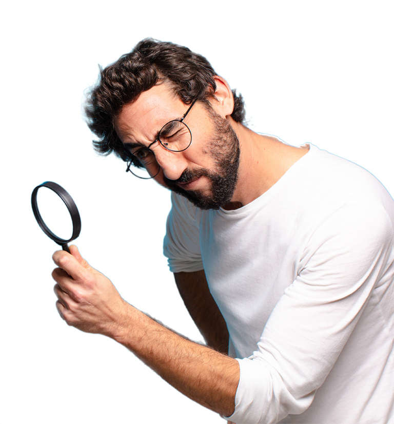 MAD Man in looking intently through a magnifying glass. Scroll to see what has him so intrigued!