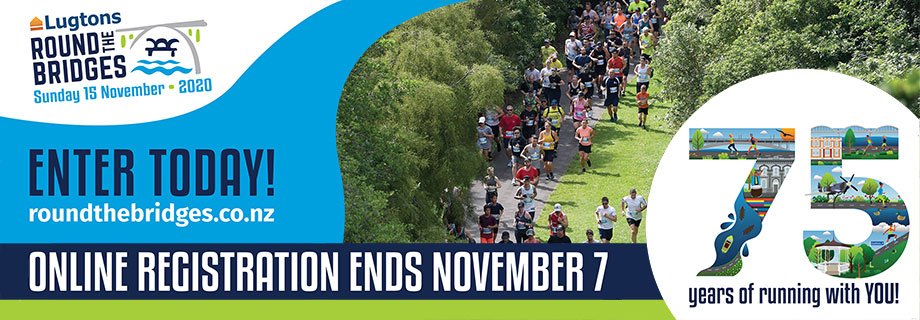Pukete Board creative. Lugtons Round the bridges. Enter Today! roundthebridges.co.nz. Online registration ends November 7. 75 years of running with you!