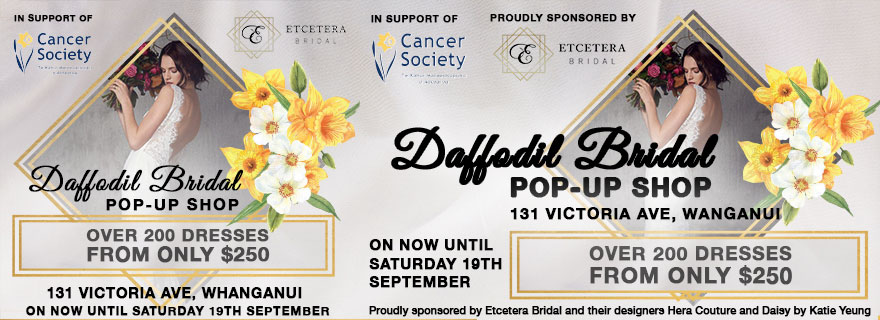 Liardet Board Creative. Daffodi Bridal Pop Up Shop. Over 200 dresses from only $250. Etcetera Bridal. In support of Cancer Society