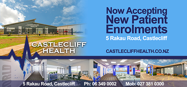 Dublin Board creative. Castlecliff Health. Now accepting New Patient Enrolments. 5 Rakau Road, Castlecliff. Castlecliff.co.nz. 063490002. 0273810300