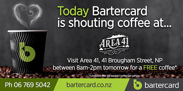 Hobson Board creative. Today Bartecard is shouting coffee at Area 41. 067695042, bartercard.co.nz