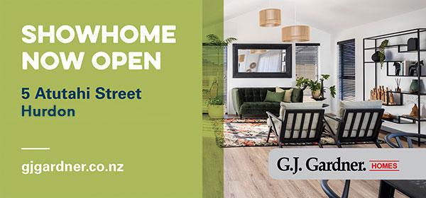 C3 Board Creative. Showhome now open. 5 Atutahi Street, Hurdon. gjgardner.co.nz. G.J. Gardner Homes