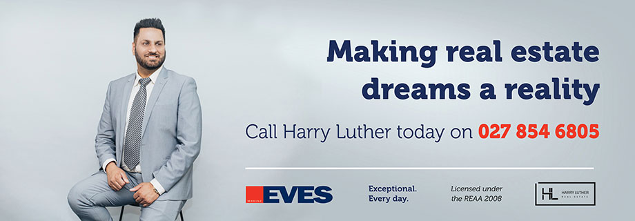 Pukete Board creative. Making real estate dreams a reality. Call Harry Luther today on 027 854 6805. Eves. Exceptional Every day. Licensed under the REAA 2008. Harry Luther.