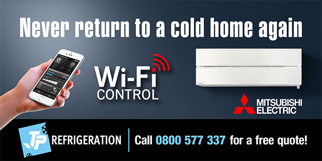 Hobson Board creative. Never return to a cold home again, Mitsubishi Electric with wifi control. JP Refrigeration. Call 0800 577 337 for a free quote!