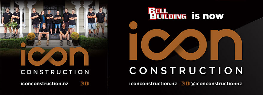 Liarder Board creative. Bell Building is now. Icon Construction. iconconstrucction.nz