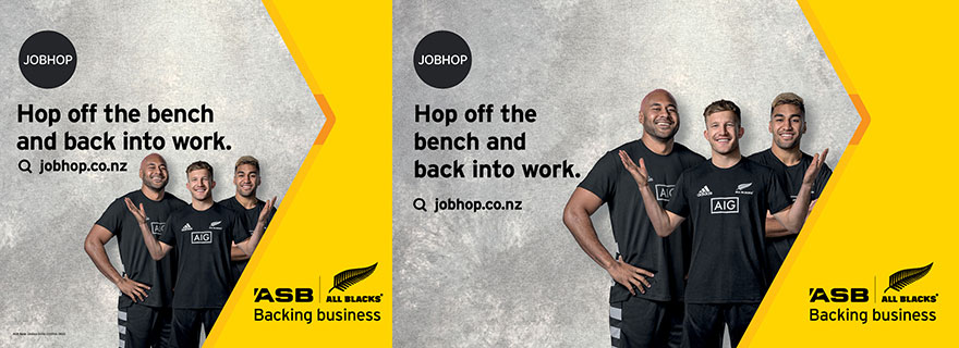 Liardet Board creative. Job Hop. Hop off the bench and back into work. jobhop.co.nz