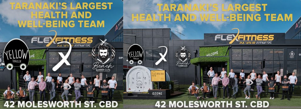 Liardet Board creative. Taranaki's Largest Health and Wellbeing Team. Flex Fitness. 42 Molesworth Street CBD